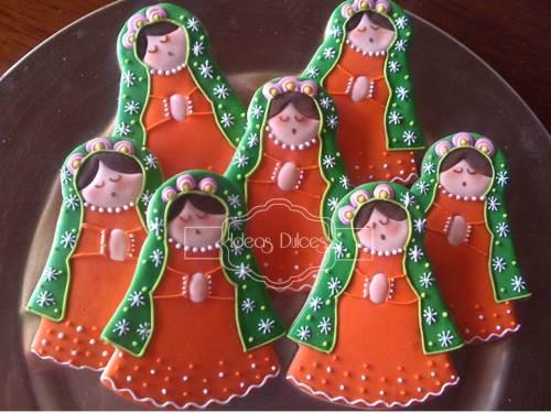 Galletas Virgencita Plis en naranja y verde