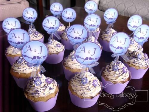 Cupcakes en tonos lila y morado de