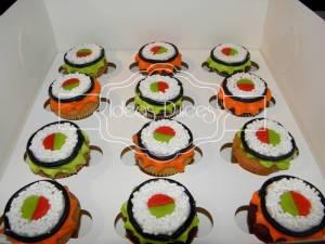 Caja x 12 mini-pasteles evocando Sushi El
