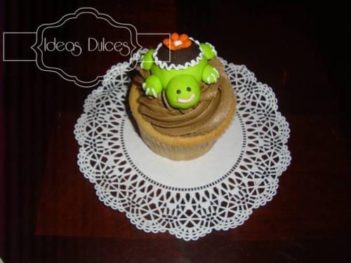 Cupcake Decorado Con personal de tortuga