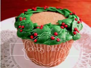 Cupcakes Corona de Navidad
