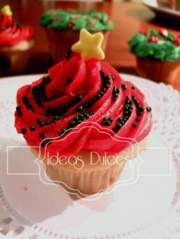 Cupcake de Arbol de Navidad Rojo
