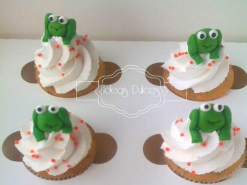 Cupcakes para fiesta temática de sapitos