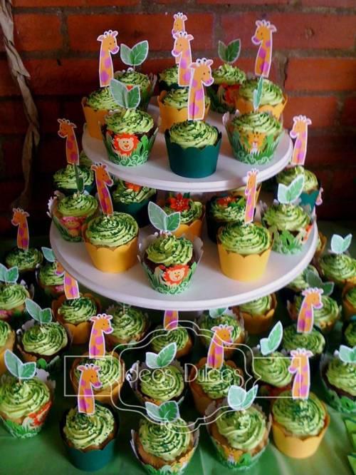 Torre de Cupcakes para fiesta temática  de Animales de la Selva
