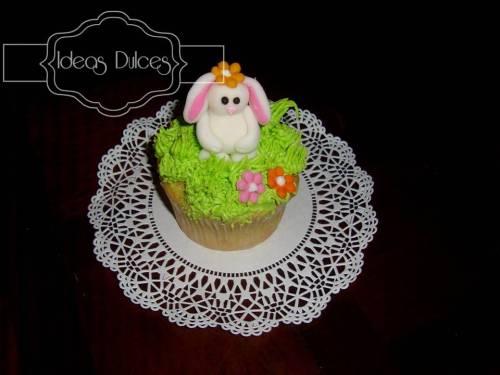 Cupcakes individuales de conejito para las amigas de Luisa