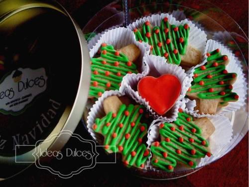 Caja galletas de Navidad con motivo de Arboles y corazones