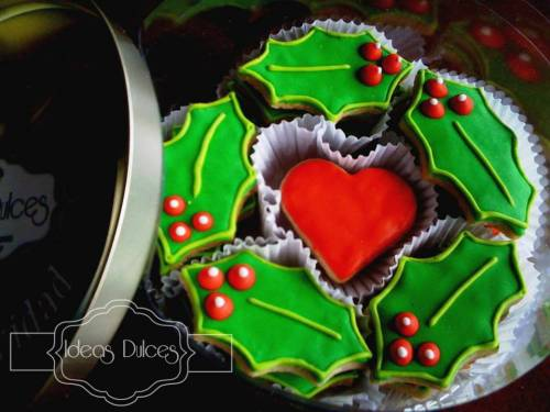 Caja Galletas con motivo Hojas de Navidad