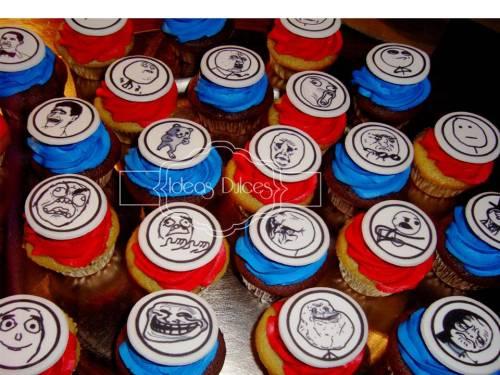 """Cupcakes con el tema de los """"memes"""" del pedido de Carolina"""