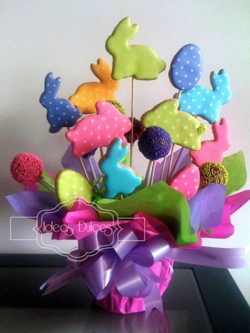 Arreglo de Cake Pops y Galletas de conejo para el Cumple de Ma. Teresa