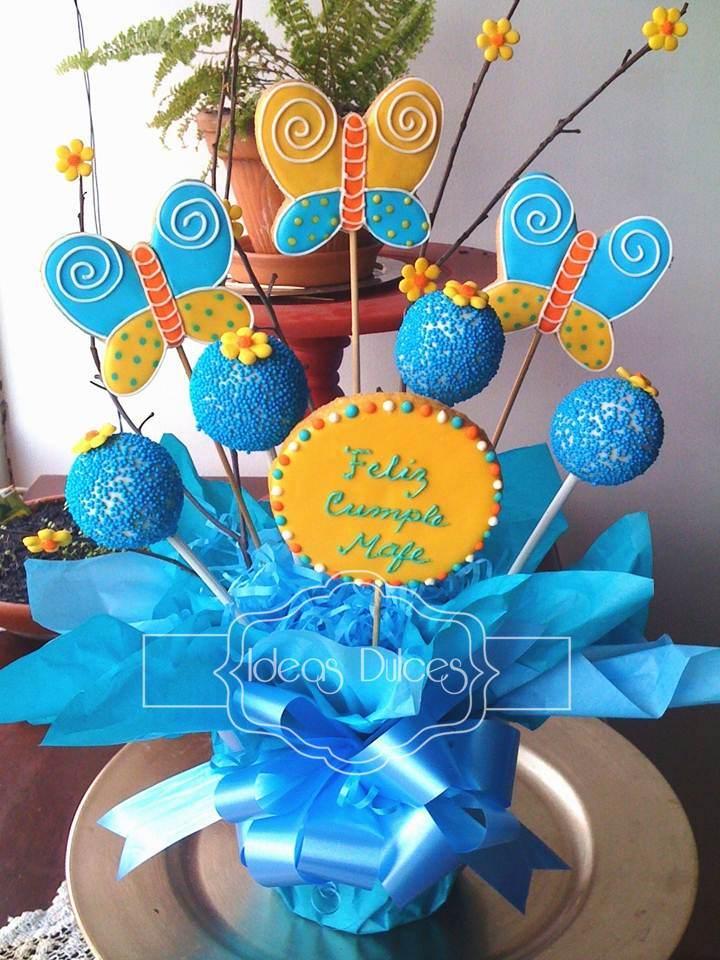 Arreglo De Galletas Mariposas Y Cake Pops Para El Cumple Mafe