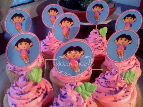 Cupcakes para Fiesta temática DORA LA EXPLORADORA para el cumple de  Sofía