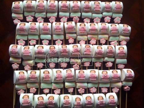 48 Masmelos tipo pincho decorados con Angelita Rosada