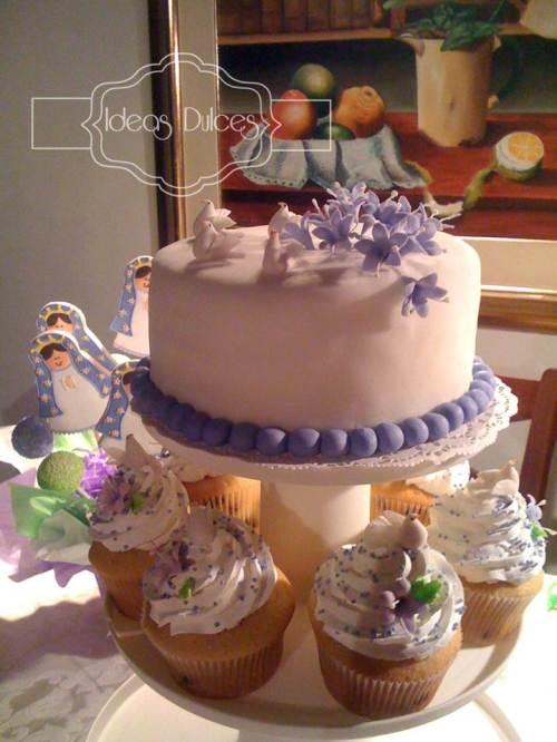 Torre Cupcakes y Mini-torta para Primera Comunión de Sarah