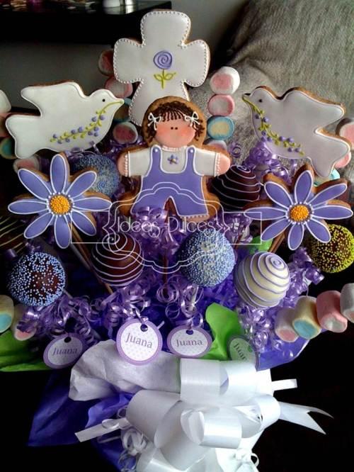 Arreglo Galletas, Cake Pops y Masmelos para el Bautizo de Juana