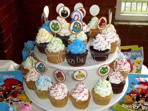 Cupcakes de Angry Birds para el cumple de Nico