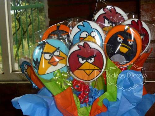 Detalle de Galletas de Angry Birds para el cumple de Nico