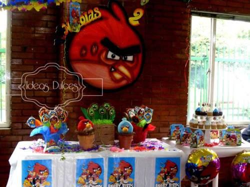 Mesa dulce de Angry Birds para el cumple de Nico