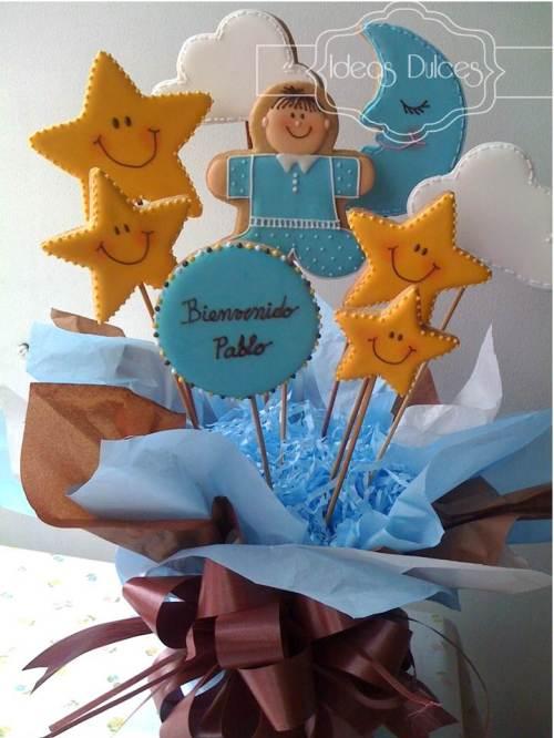 Arreglo de galletas decoradas para el nacimiento de Pablo