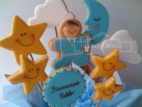 Detalle Arreglo de galletas decoradas para el nacimiento de Pablo