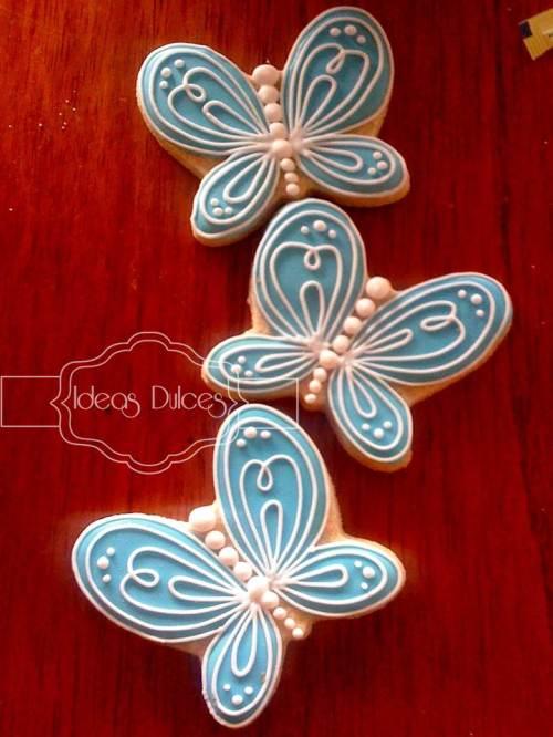 Galletas de mariposas para fiesta 15 años que aparecen en la Revista Fiestas