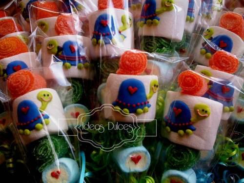 Masmelos de tortugas para la fiesta de cumpleaños de la hija de Ana