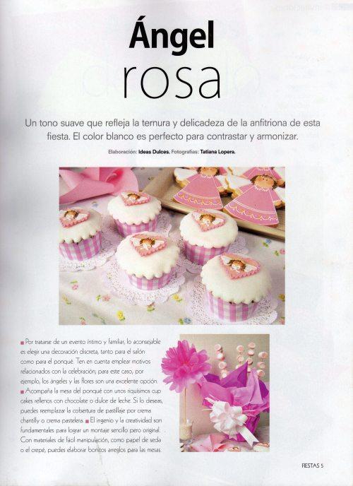 Cupcakes y Galletas de angelitas para la sección de Bautizos- revista Fiestas- Edición Noviembre de 2012