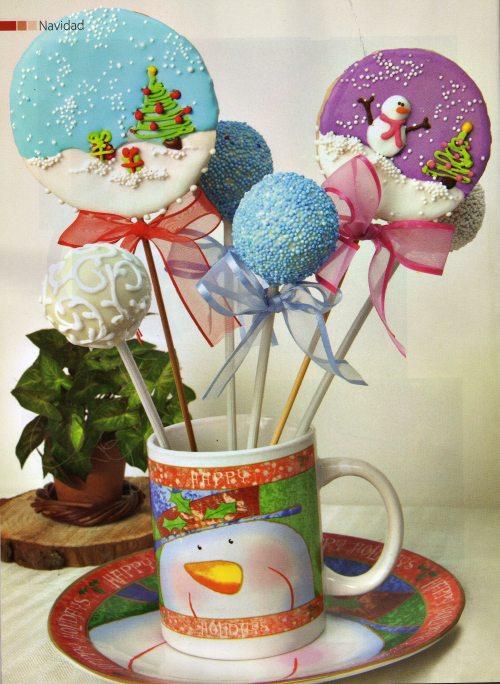 Cake Pops y Galletas para la sección de Navidad- Revista Fiestas- Edición Noviembre de 2012