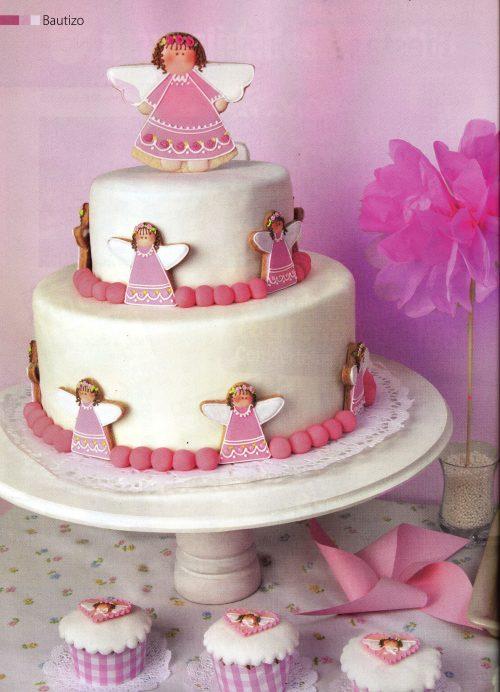 Torta angelitas para la sección de Bautizos- revista Fiestas- Edición Noviembre de 2012