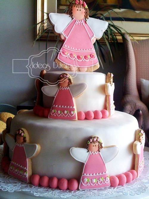 Torta de angelitas para Bautizos