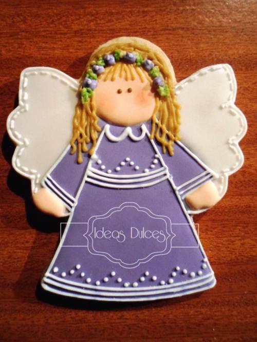 Galleta recordatorio Angel Lila
