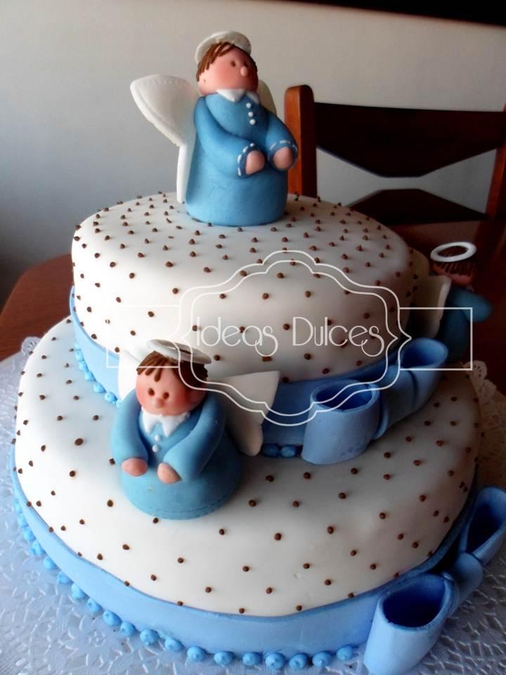 tortas de primera comunion con angeles