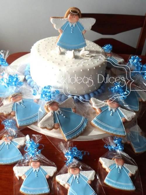 Torta y galletas angelitos para Bautizo