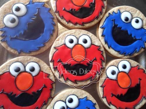 Galletas de Elmo y Come-Galletas para el cumple del hijo de Elsa Patricia