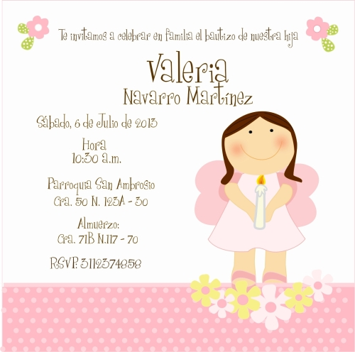Invitación al Bautizo de Valeria