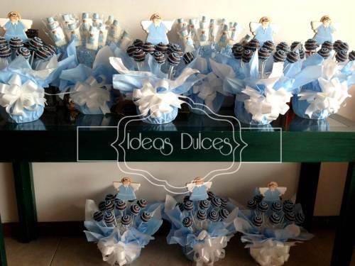 Arreglos de Masmelos y Cake Pops de Angelitos azules para Primera Comunión