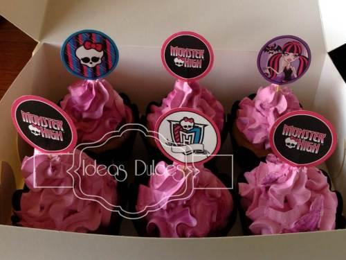Cupcakes de Monster High para pijamada de cumpleaños