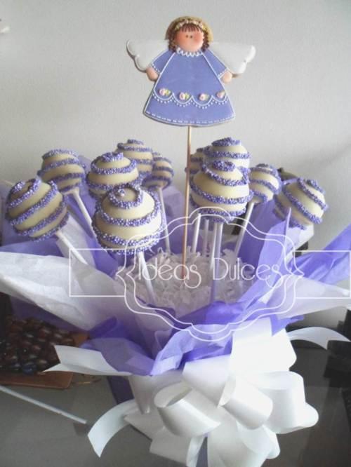 Arreglo Cake Pops + Galleta Angelitan para Bautizo