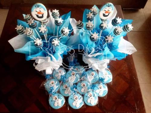 Arreglos cake pops y galletas inspiradas en FROZEN
