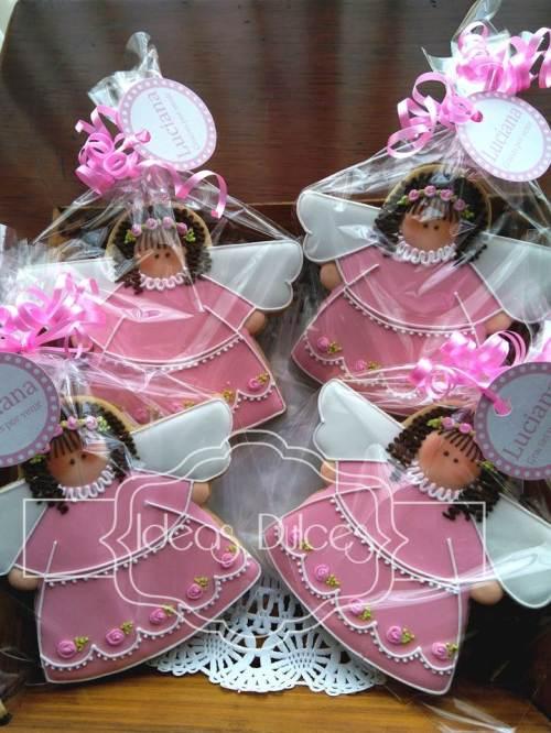 Galletas Recordatorio de Angelitas para el Bautizo de Luciana